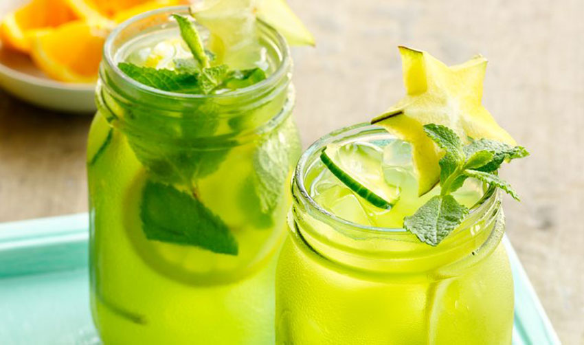Pineapple water with cucumber and celery.