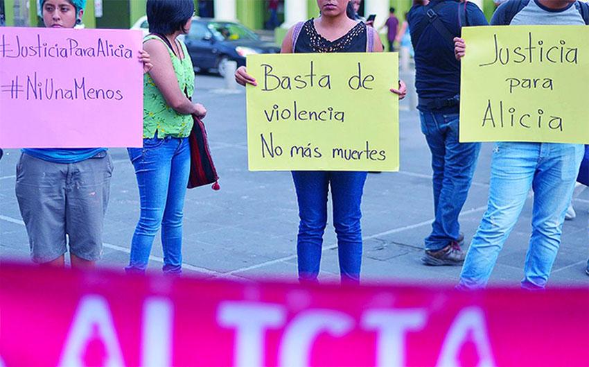 Women protest against gender-based violence.