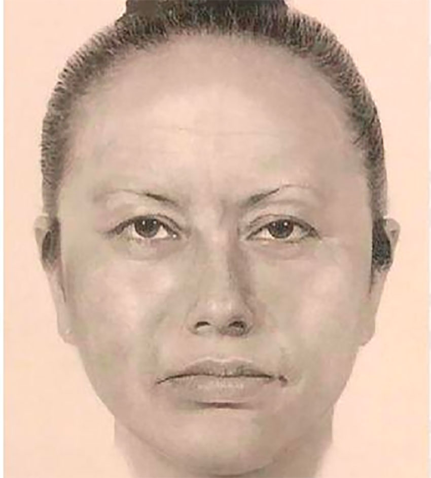 A police sketch of the woman sought in Fátima's abduction.