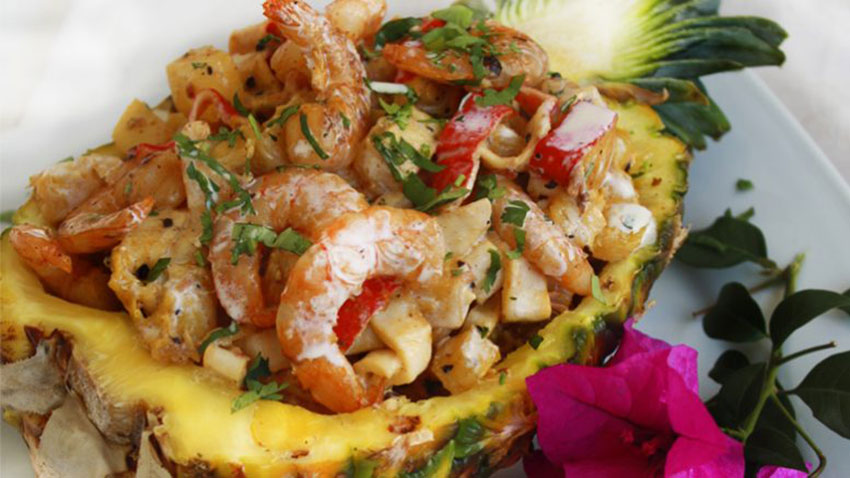 Food for Lent: prawns on a bed of pineapple.