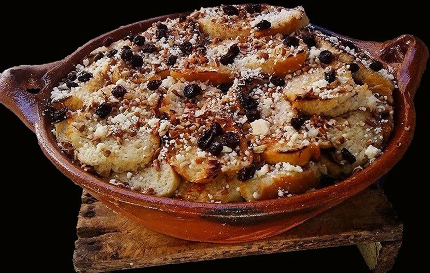 Capirotada is a dessert often eaten on Good Friday.