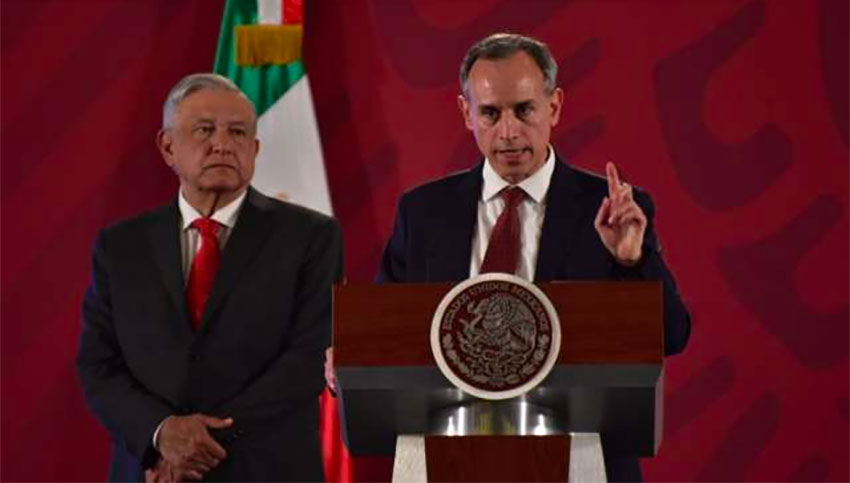López Obrador, left, and Deputy Health Minister Hugo López-Gatell said on January 23 there were no drug shortages.