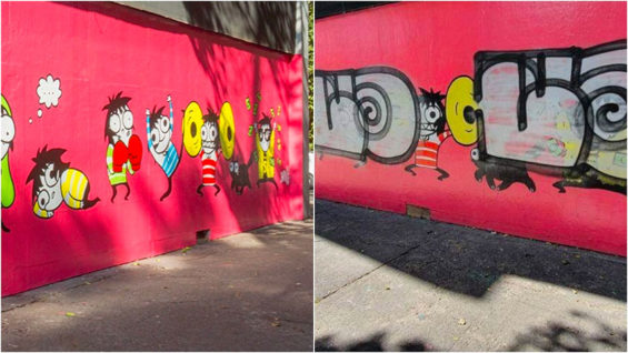 The Mexico City mural before, left, and after.