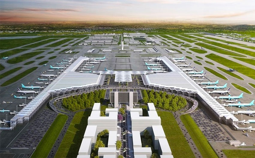 The new Santa Lucía airport, now under construction by the Defense Ministry.