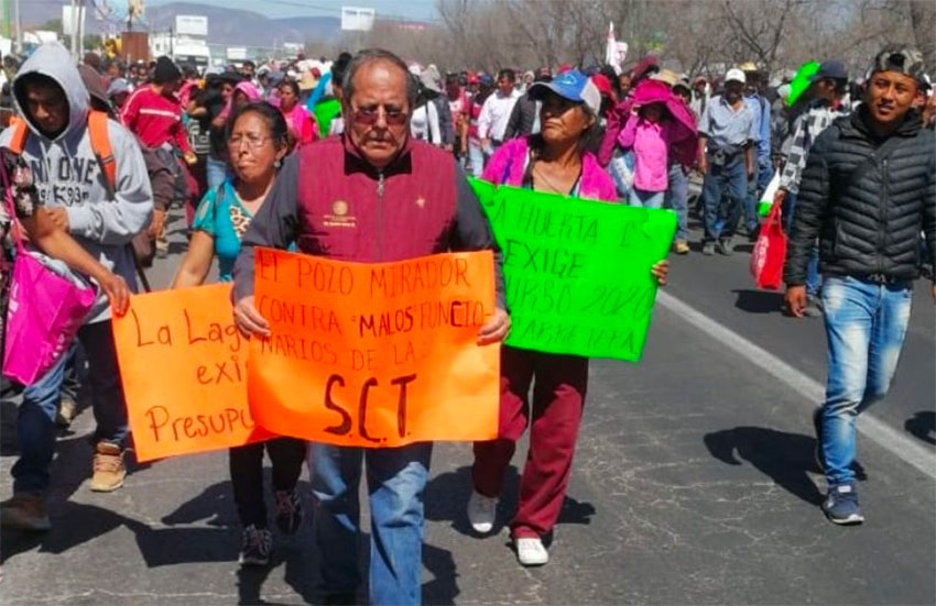 Transportation official Meza at Thursday's protest march.