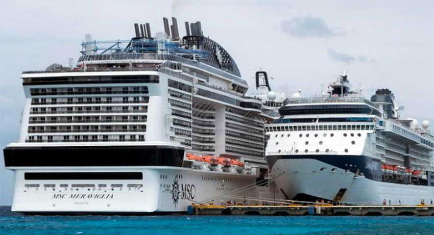 Passengers were allowed to disembark Friday from the Meraviglia, left, in Cozumel.