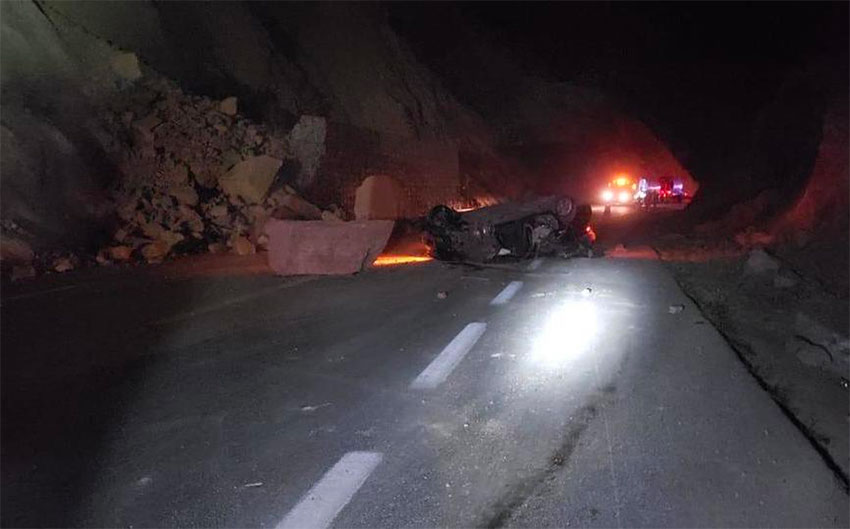 One of the cars that was crushed by the slide in Oaxaca.