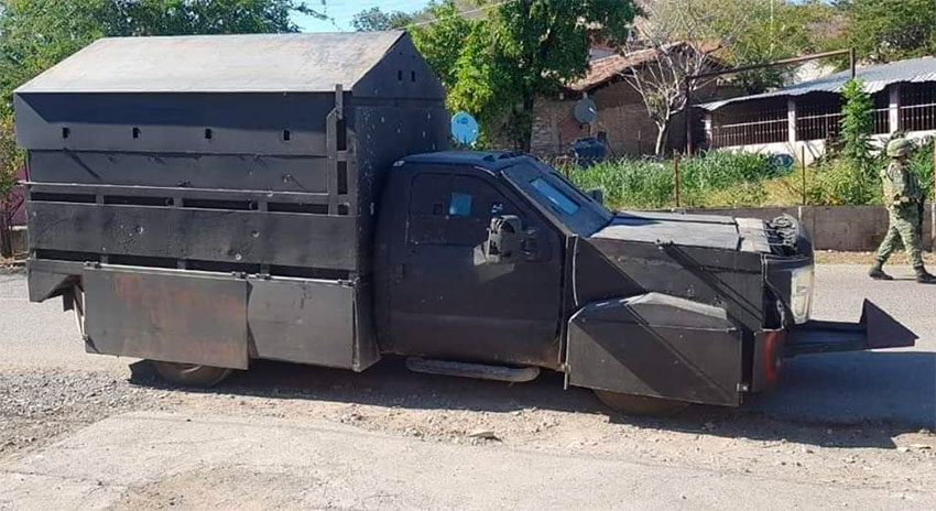 The armored vehicle seized in Zirándaro bore the Jalisco cartel's initials, CJNG.