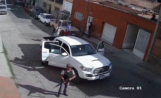 Surveillance camera catches an operation by Jalisco cartel suspects in Zacatecas in 2018.