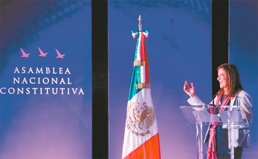 Zavala speaks at Sunday's assembly in Mexico City.
