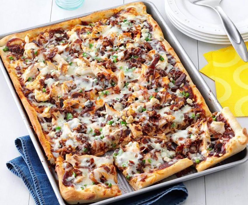 Barbecued Chicken Pizza is one of a long list of options.
