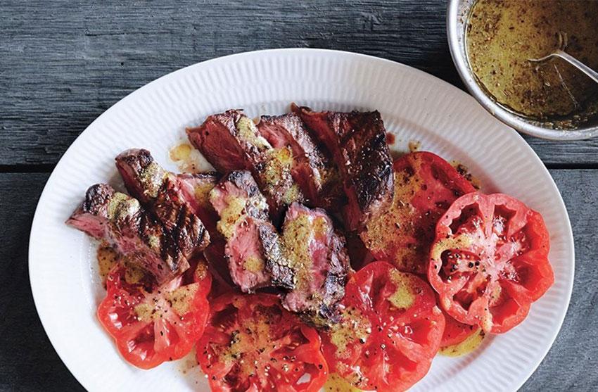 Tomatoes brighten up grilled skirt steak.