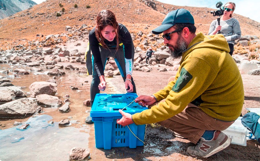 Enna Llabrés and Roberto Junco prepare the collection of artifacts for deposit on the lake bottom