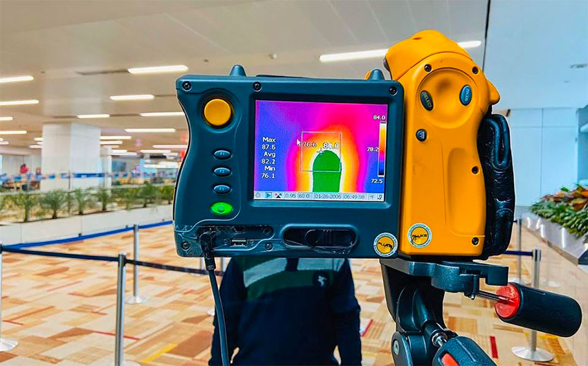 Thermal imaging cameras are being used at Mexico City airport.