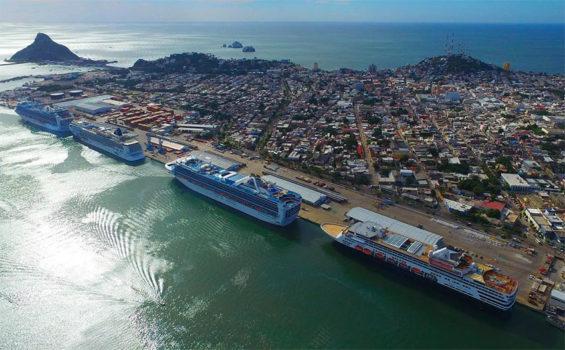 Cruise ships moored in Mazatlán.
