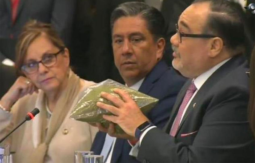A senator uses baggies of oregano to demonstrate pot quantities.