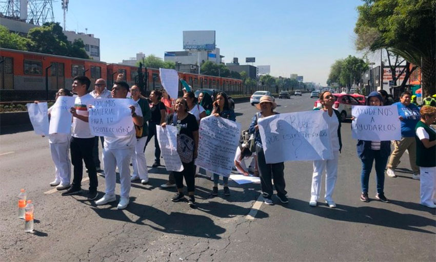 Medical personnel protest in Mexico City on Tuesday.