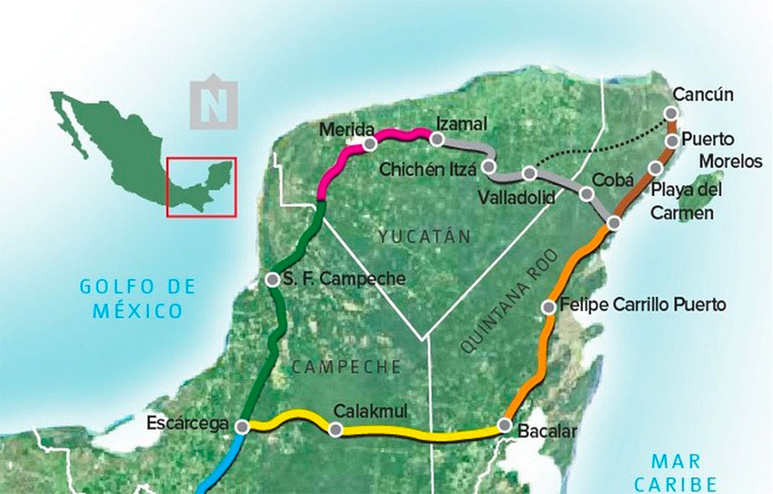 The Maya Train was to run from Valladolid to Tulum through Cobá, as shown.