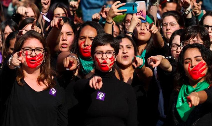 Women at a recent protest against gender-based crime.