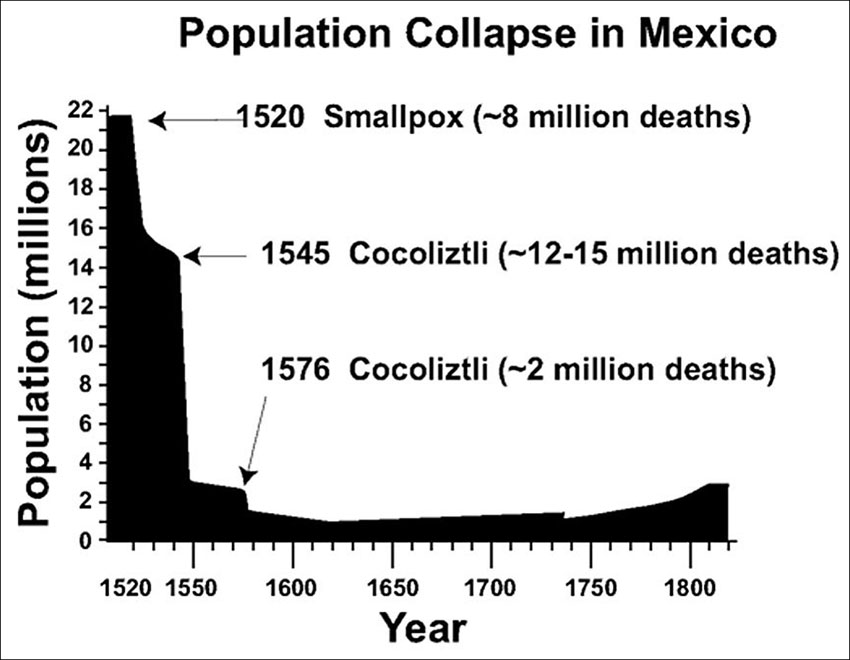 Estimated population collapse in the 1500s.