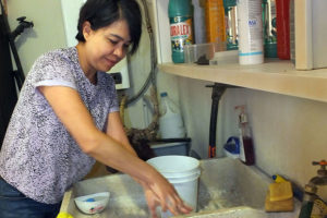 Margarita Ibarra demonstrates the right way to wash hands: 'I'm not saying you have to scrub them until they bleed, but you have to do a thorough and vigorous job.'
