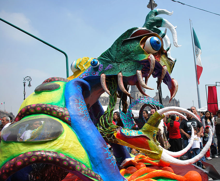 Giant-sized alebrijes of papier-mache are paraded through Mexico City every year in October.