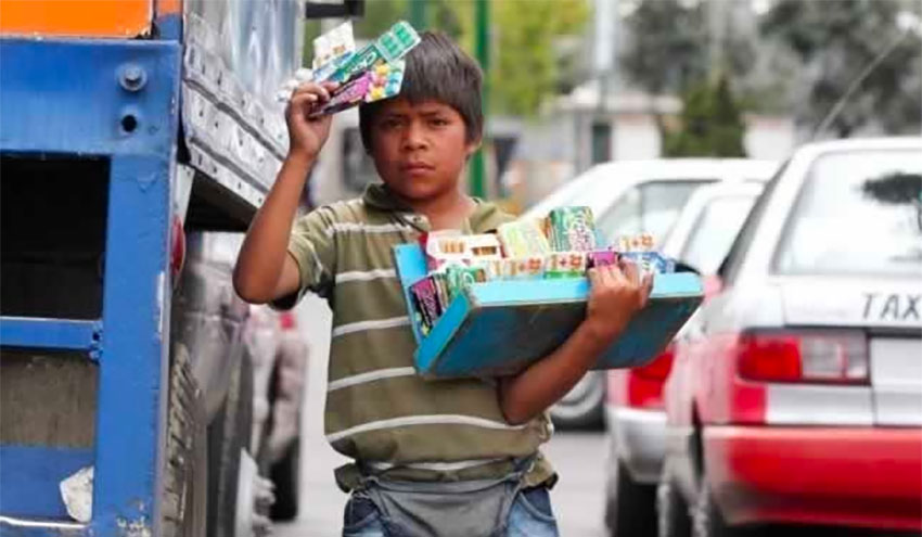 A child vendor on a Mexican street.