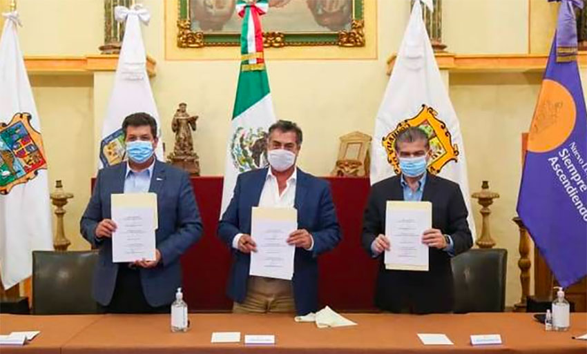 Masked bandits? No, they are the governors of Tamaulipas, Nuevo León and Coahuila.
