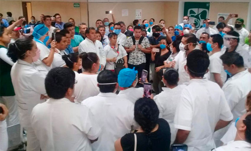 The Puebla hospital meeting that turned violent on Tuesday