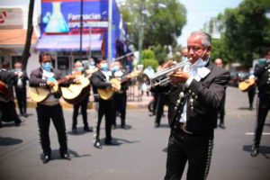 Mariachis play outside a Mexico City hospital on Tuesday afternoon.