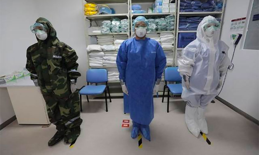 Navy medical personnel at the ready at a Mexico City hospital.