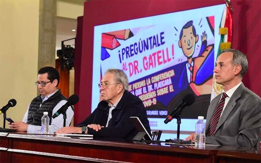 Director of Epidemiology Alomía, Health Minister Jorge Alcocer and Deputy Minister Hugo López-Gatell at the daily coronavirus briefing.