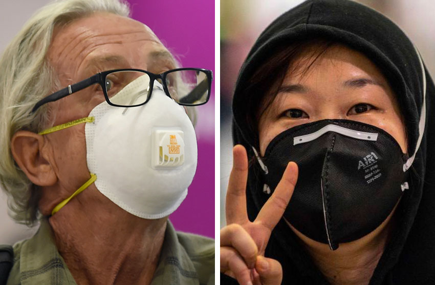 senior, child with face masks
