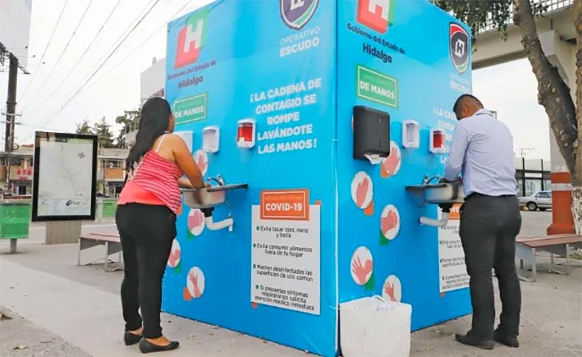 A handwashing station in Hidalgo.