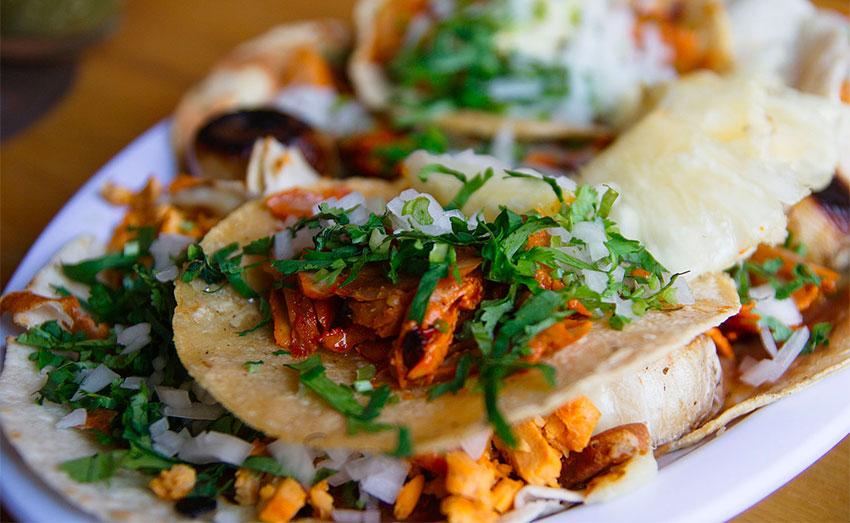 A dish of tacos al pastor.