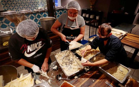 Staff prepare tamales at the Hotel Fénix in Guadalajara.