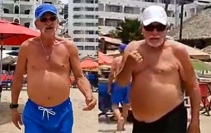 Tourists vent their anger at a reporter on a beach in Puerto Vallarta.