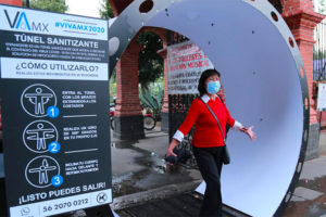 Disinfection tunnels have been installed at various locations in Mexico City in recent days.