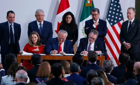 Trade negotiators signed the new deal in Mexico City in December before President López Obrador and other officials.