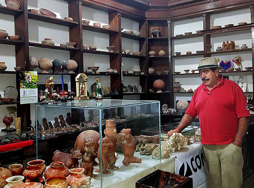 Writer Gabriel Michel at the Licho Santana Museum in El Limón, Jalisco.
