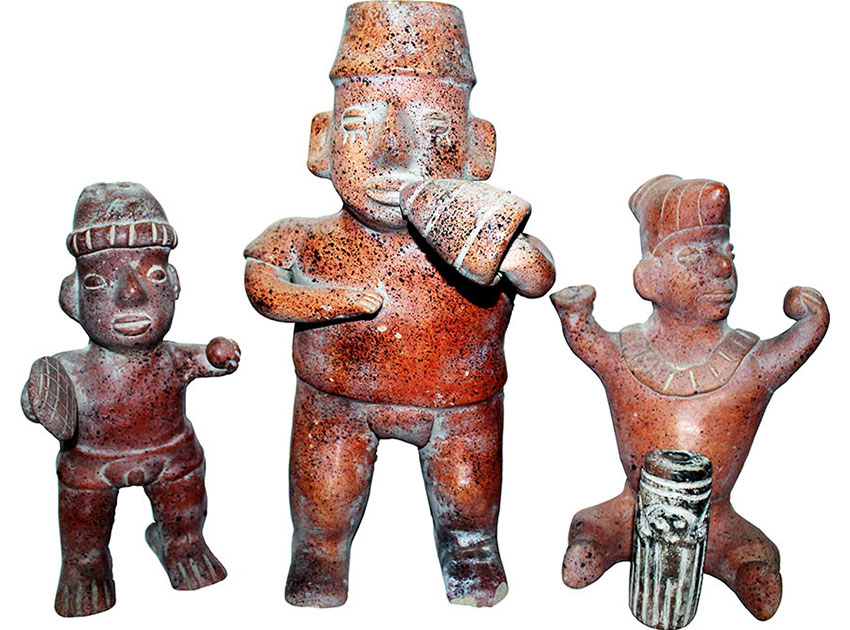 Musicians with typical instruments, possibly from a shaft tomb in Colima.