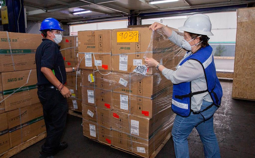 Boxes of medical supplies en route to hospitals in Mexico.