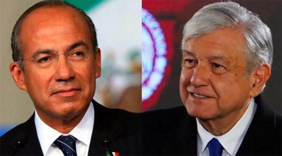 Calderón, left, and López Obrador