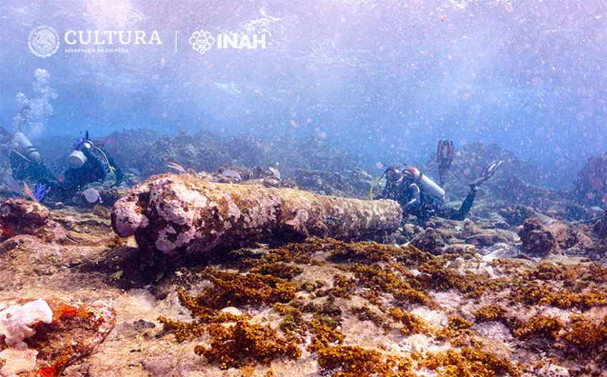 The remains of a cannon found by divers off the coast of Quintana Roo