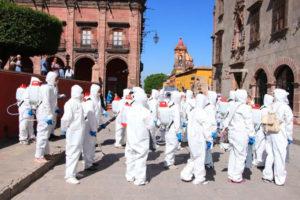 A coronavirus disinfection crew in San Miguel.