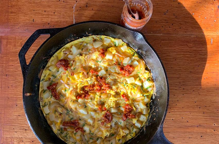 Top this Potato Onion Fritatta with chorizo or bacon.