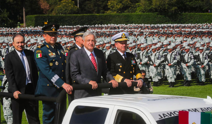 President López Obrador at the inauguration of the National Guard in July 2019.