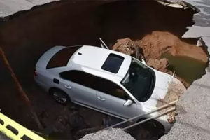 Outdated infrastructure was blamed for this sinkhole in Nuevo Laredo.
