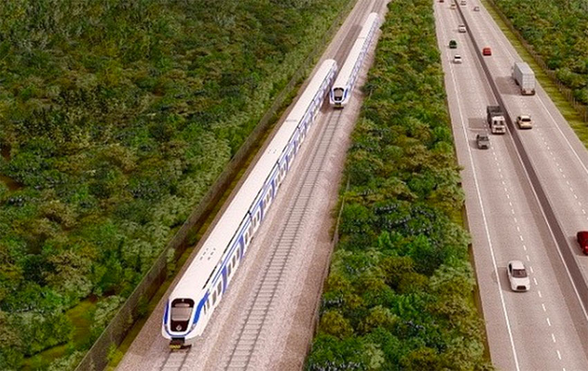An artist's rendition of section four of the Maya Train, where it will run adjacent to the highway between Cancún and Izamal.