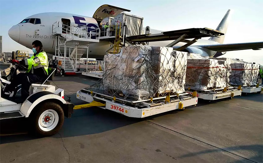 The first shipment of ventilators arrives from the US.
